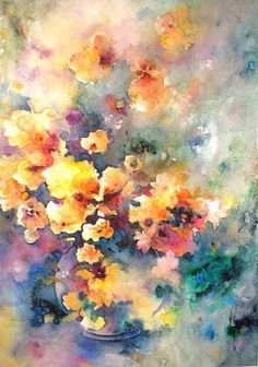 Watercolour Flowers painting 24 by Miki, Queen of Planet Goodaboom, via Flickr
