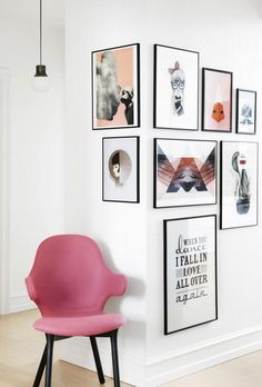 A photo gallery wall that goes round corners. The corner gallery wall with a pink chair for interest and to tie in colours. Interior Design Inspiration, Home Decor Inspiration, Design Ideas, Design Trends, Home And Deco, Decor Room, My New Room, Home Fashion, Interior Decorating