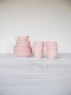 Vintage Pink Melmac Dinnerware Collection 19 pieces by CocoAndBear, $35.00