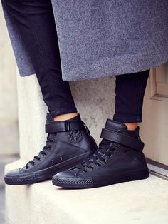 Mono Leather Hi Top Chuck   Leather high-top Chucks in a modern monochromatic palette. Retro ankle-strap detailing with Velcro closure.