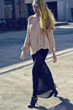 Off shoulder Sweater & Sheer black Maxi Skirt _ love this and love her hair!