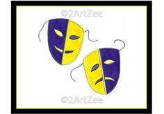 Thespian Drama Masks Applique and Machine Embroidery In by 2artzee, $4.00