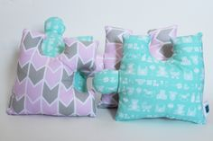 CUSTOM Puzzle Pieces decorative pillows, Set of 4, Personalizable Plush Softies, Nursery decor, Baby shower gift, Baby birthday, Kid game by TheSofties on Etsy