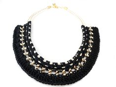 Black Crochet Statement Necklace by ChichiKnots on Etsy, $40.00