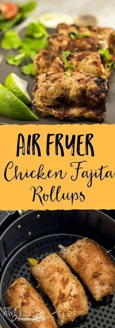 Air Fryer Chicken Fajita Rollups Looking for a delicious low carb recipe to try? This Air Fryer Chicken Fajita Roll Up Recipe is full of flavor, healthy, and oh so good! Fryer via Awe Filled Homemaker Air Fryer Oven Recipes, Air Fry Recipes, Low Carb Recipes, Cooking Recipes, Healthy Recipes, Atkins Recipes, Cheap Recipes, Coconut Recipes, Greek Recipes