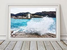 Stormy Sea Photo Lighthouse Wall Art Wave Pictures France Travel Decor Turquoise Water Art Coastal Photography DIY Gift Digital Beach Print