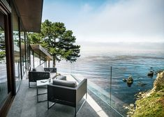 Fall House by Fougeron Architecture steps down a cliff side.