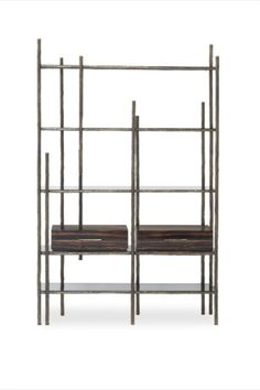 A quick look at MAMBU Bookcase and you are able to identify the inspiration behind it. Bamboo is tall woody grass and it inspired the structure of this unique bookcase made in patina casted brass. It features four spacious shelves in smoked glass and two drawers in ebony wood veneer with a glossy varnish. MAMBU is the perfect addition to any office decor or modern living room.