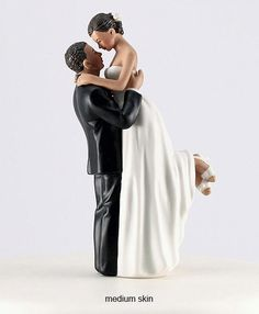 True Romance Bride and Groom Hispanic Wedding CakeToppers -Ethnic Couple Romantic Porcelain Hand Painted Figurines