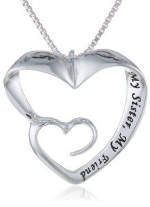 "Sterling Silver ""My Sister, My Friend"" Double Open Heart Pendant Necklace, 18"""
