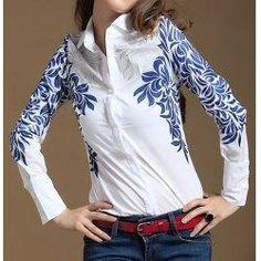 trendsgal.com - Trendsgal Shirt Collar Floral Print Long Sleeve Blouse For Women - AdoreWe.com