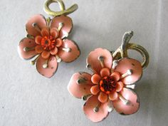 Viintage silver and pink flower cocktail earrings by fayebella, $12.00