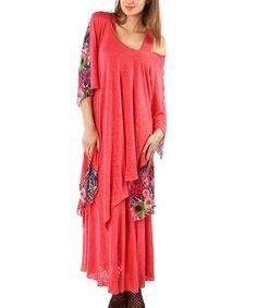 Look what I found on #zulily! Pink Floral Off-Shoulder Maxi Dress - Plus by Zer Otantik #zulilyfinds