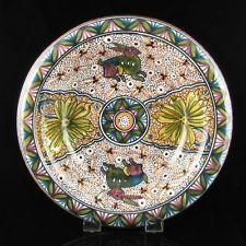 Hand Painted Faience Art Pottery Bowl Portugal Estrela de Conimbriga Folk Naif