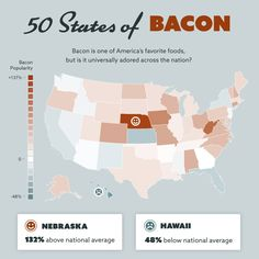 An interactive map tells users which states are the most bacon obsessed. Interactive Map, Career Change, Explain Why, Public Relations, Funny People, Bacon, Have Fun, Funny Quotes, Told You So