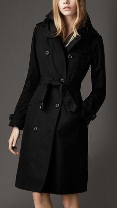 Burberry Long Cotton Gabardine Hooded Trench Coat