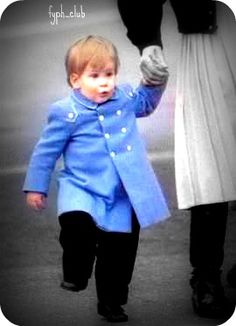 Diana holding Harry's hand at the airport in Aberdeen Scotland. This is one of my favorite photos of Harry.