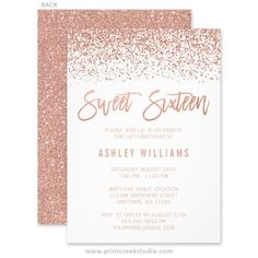 Glamorous rose gold sweet 16 invitations with faux glitter.