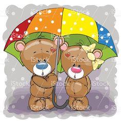 Two cute cartoon bears with umbrella vetor e ilustração royalty-free royalty-free