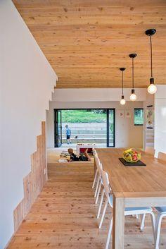 Dvoukřídlé posuvné dveře oddělují jídelnu a kuchyň od dětské herny, která je pojítkem mezi ložnicemi obou synů.