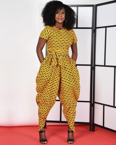 The super fly Yellow Harem Jumpsuit by Rahyma is here at the Pop Up in #DC until 8pm! Visit zuvaa.com/DCPopUp for details • also available at zuvaa.com ☀️