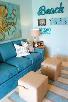 turquoise beach house family room   Cara McBroom