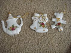 Royal Albert OLD COUNTRY ROSES Teapot Ornament 1962 teddy bear bells lot 3 new #oldcountryroses