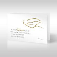 """Diese schlichte und zugleich aussagekräftige Trauerkarte mit einer selbst illustrierten goldenen Hände-Grafik auf weißem Grund ist Teil der """"Bibelverse""""-Linie. Der trostreiche Bibelvers Psalm 31,6 lautet: """"In deine Hände lege ich voll Vertrauen meinen Geist; du hast mich erlöst, Herr, du treuer Gott."""" https://www.design-trauerkarten.de/produkt/haende-des-vertrauens/"""