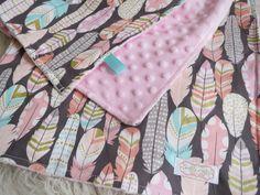 Baby Girl Blanket-Pink Minky Blanket, Feather Blanket, Tribal Baby Blanket, Native Blanket, Tribal Nursery Bedding, Native Nursery Bedding