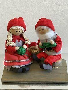 Santa Claus Elf Figurine Vintage Swedish Hand Carved Christmas Mrs