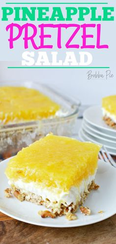 This light, fluffy Pineapple Pretzel salad has the perfect combination of sweet pineapple and salty pretzels. Made with cream cheese and whipped topping, it is the perfect dessert salad for any occasion. Pretzel Desserts, Jello Desserts, Dessert Salads, Jello Recipes, No Bake Desserts, Recipies, Fruit Salads, Pudding Desserts, Pie Recipes