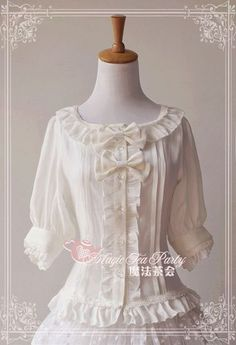 Magic tea party mid-sleeves blouse 2 in white (69,00 USD)