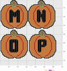 Plastic Canvas Letters, Plastic Canvas Coasters, Plastic Canvas Crafts, Cross Stitch Alphabet, Cross Stitch Patterns, Alphabet Charts, Halloween Canvas, Halloween Projects, Halloween 1
