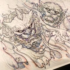 "303c1845b42fa #foodog #sketch #drawing #illustration #asiantattoo #asianink #irezumi # tattoo"""