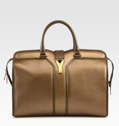 Yves Saint Laurent Handbag  (YSL Cabas Chyc Perforated Bronze Leather Bag)