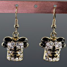 NEW!  FLEUR DE LIS /NEW ORLEANS SAINTS FOOTBALL JERSEY WITH RHINESTONE GOLD COLOR  EARRINGS WOULD  LOOK GREAT WITH YOUR OUTFIT!! REALLY CUTE!!!!