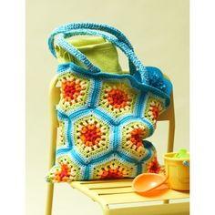 Rainbow Hexagon Beach Bag  | Croceht| Free Pattern | Yarnspirations | Summer