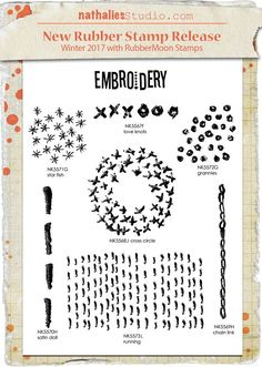 Mixed Media Embroidery Set (7 Stamps) - NK1001S - Rubber Art Stamps