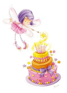 Happy Birthday - Magical - Cake - Fairy Custom by lechezz Happy Birthday Images, Happy Birthday Wishes, Birthday Greetings, Happy Birthday Fairy, Cute Fairy, Happy B Day, Fairy Art, Digital Stamps, Birthday Quotes