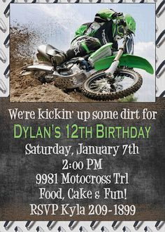 Print Your Own Kickin' Dirt Motocross Dirt Bike Birthday Invitations Options | eBay