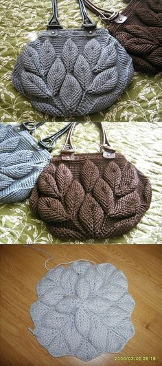 Handbag knit leaves on Osinka. Has knitting Diagrams and also a crochet diagram.  Think that I will try this!