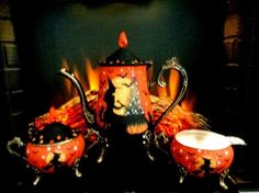 VINTAGE WITCHES & BLACK CATS SILVER PLATE TEA 4 PIECE TEA SET HP by Peggy G