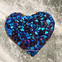 Brilliant Blue Aura Titanium Quartz Heart #quartz #hearts #love #crystals