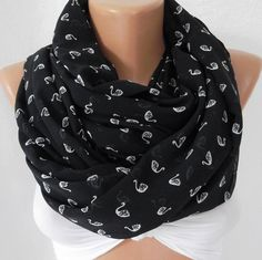 Swan Lace - Infinity Scarf Loop Scarf Circle Scarf - Elegant - It made with good quality chiffon fabric - Super $18.00