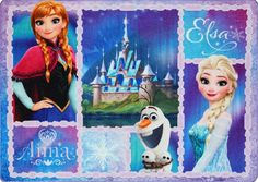"Disney Frozen Northern Patchwork Anna, Elsa & Olaf Digital Printed Jumbo Size Kid'S Bedding Area Rug, 54"" x 78"", Blue/Purple"