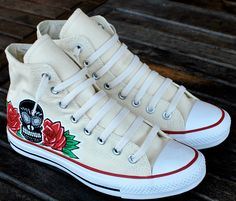 Dia De Los Muertos Skull and Roses BKLYN graffiti custom hi top Chuck Taylor Converse