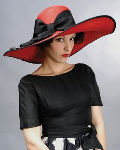 1233PHPA PICTURE HAT, PANAMA, SCARLET W/ BLACK