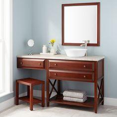 """60"""" Glympton Vessel Sink Vanity with Makeup Area - Cherry"""