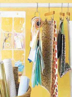 Use clip hangers to get organized....yes please; needed a use for these sad, empty hangers: looks like I found one!