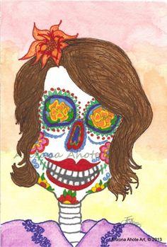 Print of Original Watercolor Painting Day of the Dead Purple Woman 4x6 | ArizonaAhoteArt - Folk Art & Primitives on ArtF